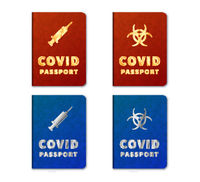 Blue and red COVID passports with different icons on white