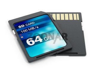 64 GB SD card isolated on white background. 3D illustration