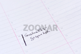 Kalendereintrag 'Gehaltsgespräch'