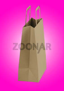 Close up view of Shopping bag from craft paper with handles on white background , 3d Rendering isolated illustration. suitable for your element design.