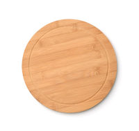 Empty round bamboo pizza cutting board