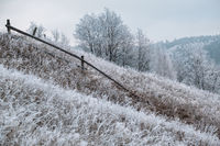 Winter coming. Picturesque foggy and moody pre sunrise scene in late autumn mountain countryside with hoarfrost on grasses, trees, slopes. Ukraine, Carpathian Mountains.