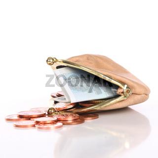 Kleiner Ledergeldbörse mit Restgeld