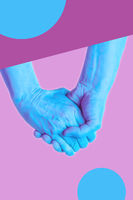 Hands in a surreal style in violet blue neon colors. Modern psychedelic creative element with human palm for posters, banners, wallpaper. Copy space for text. Magazine style template. Pop art culture.