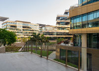 Contemporary urban city district with glass buildings, verdant lawn and palm trees