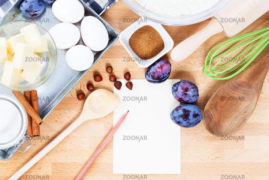 writing a recipe for plum cake