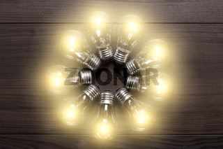 glowing bulbs on wooden background