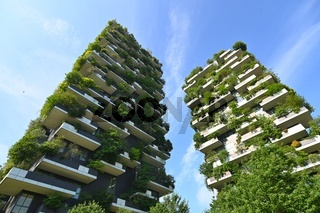 Exterior view of luxury residential skyscrapers Bosco Verticale in Porta Nuova district Milan Italy June 12 2021