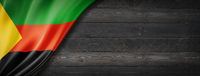 Azawad MNLA flag on black wood wall banner