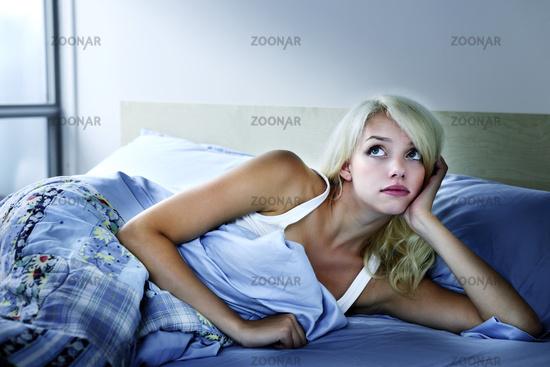 Woman sleepless at night