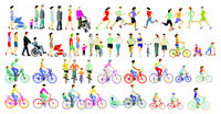 Large group of people of athletes, families, cyclists and pedestrians, illustration, isolated on whi