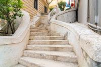 Kamondo Stairs, famous pedestrian stairway leading to Galata Tower, built 1870, Istanbul, Turkey
