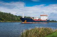 Tank vessel on the Kiel Canal near Rendsburg, Schleswig-Holstein, Germany