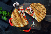 Italian panini with peppers and cheese