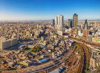 Nagoya Japan, city skyline at Nagoya railway station and business center