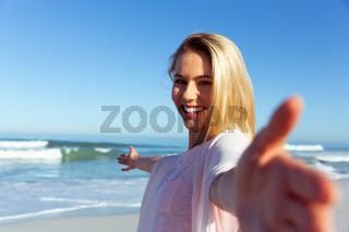 Caucasian woman enjoying at beach