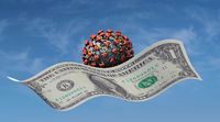 Virus flies on a dollar bill - corona pandemic and follow-up costs