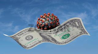 Virus fliegt auf einem Dollarschein - Corona-Pandemie und Folgekosten