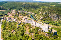Knin fortress on the rock aerial view