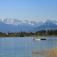 Swimming platform in Seegraben, spring scene in Zurich Canton.