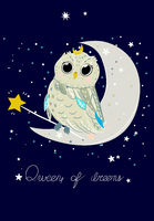 Good night poster for baby room with magic owl.
