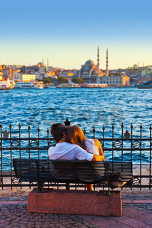 Man and woman on bench at Istanbul Turkey