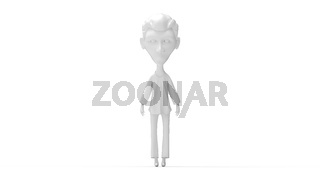 3D rendering of a cartoon figure man isolated on white background