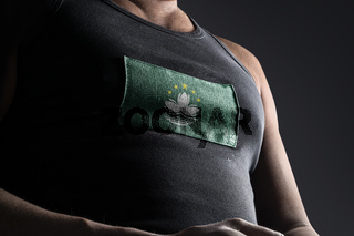 The national flag of Macao on the athlete's chest