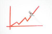 Mini figure follows ascending graph