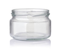 Front view of open wide glass jar