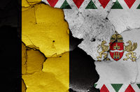 flags of District XXIII. (Soroksar) and Budapest painted on cracked wall