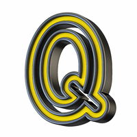 Yellow black outlined font Letter Q 3D