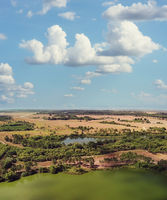 Aerial view of countryside and beautiful lakes.