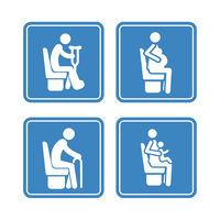 Set of detailed blue icons of priority seats on the white background
