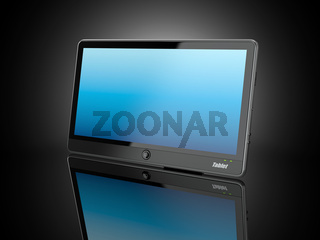 Black tablet pc on black background. 3d
