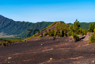 National Park of Caldera de Taburiente from Llano del Jable Astronomical Viewpoint. Volcano of San Juan and Cabeza de Vaca