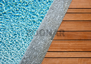 Water, stone and wood divided by a diagonal