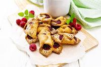 Cookies with raspberries on board
