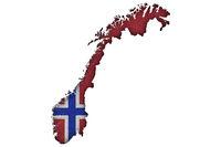 Karte und Fahne von Norwegen auf Filz - Map and flag of Norway on felt