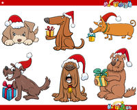 cartoon dogs with presents on Christmas time set