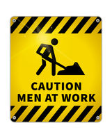 Bright Caution glossy metal plate, warning sign Men at work area with road worker icon on white