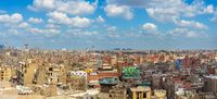 Panorama of weathered roofs of houses in old Cairo, Egypt