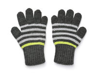 Pair of gray woolen knitted gloves