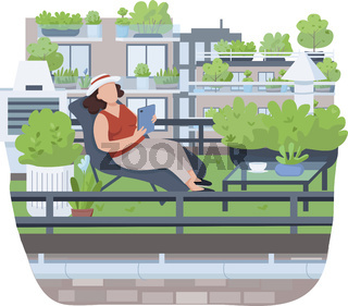 Relaxing on veranda semi 2D vector web banner, poster. Woman on deck chair flat character on cartoon background. Recreation, roof gardening, town greening printable patches, colorful web elements Relaxing on veranda semi 2D vector web banner, poster. Wo