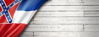 Mississippi flag on white wood wall banner, USA
