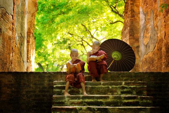 Buddhist monk reading outdoors