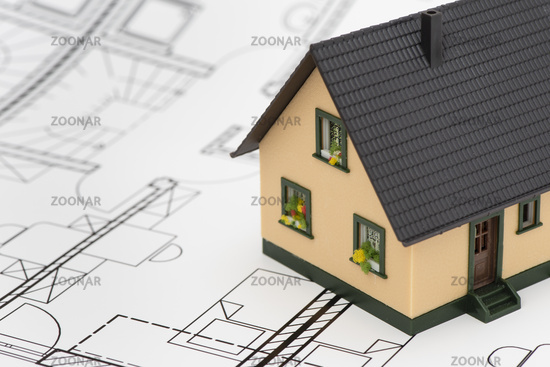 model home on architectural plan