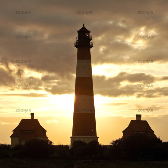 Westerhever lighthouse at sunset, Wadden Sea National Park, North Sea, North Frisia, Germany, Europe