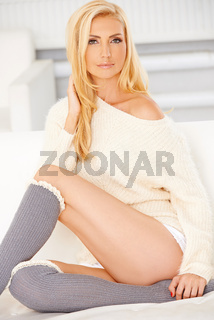Blonde with a Knee High Socks