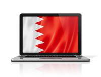 Bahrain flag on laptop screen isolated on white. 3D illustration